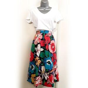 Vintage Midi Skirt Bright Floral Print A-line